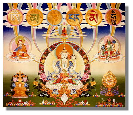 Chenrezig, Padmasambhava (left)  Green Tara (right)